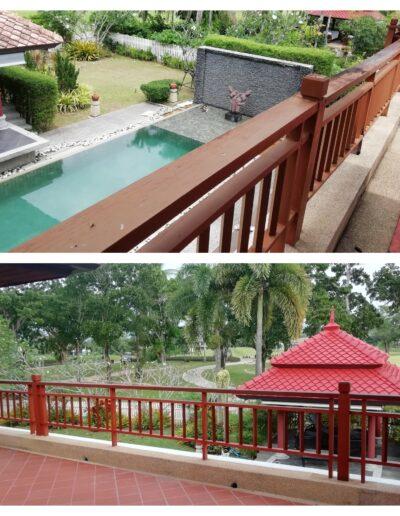 wood handrail roof sala